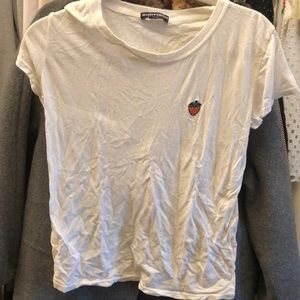 Brandy Melville Strawberry Embroidered tshirt